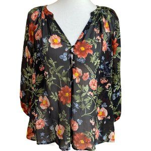 Joie Blouse Silk Top Floral Boho Festival Peasant